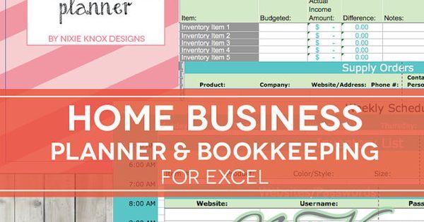 Home Business Planner - 2017 2018 Excel Spreadsheet - Etsy Seller
