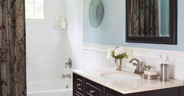 Blue bathroom design ideas dark brown vanities and bath - Dark blue bathroom ideas ...