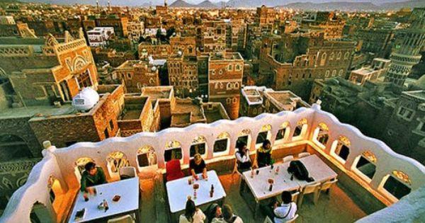 Coffee Shop In Old Sanaa صنعاء القديمة Mountain City Sana A Places To Visit