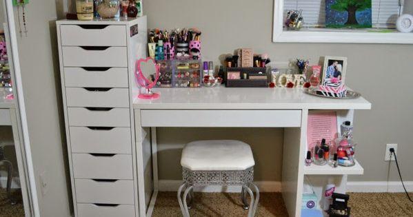 My vanity and makeup storage ikea alex 9 and micke desk - Ikea cajonera alex ...