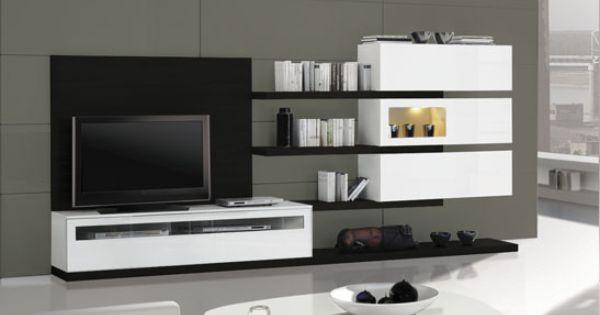 Mueble de sal n de composici n modular acabado en blanco for Mueble salon lacado blanco