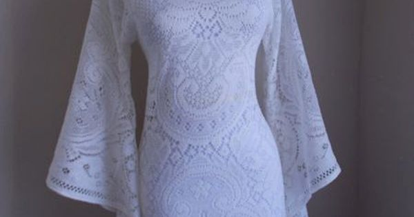 maddyVintage 1960s 1970s Off White Crochet LACE Angel Bell Sleeve HIPPIE Wedding