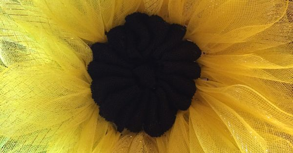Sunflower Wreath made with poly deco mesh
