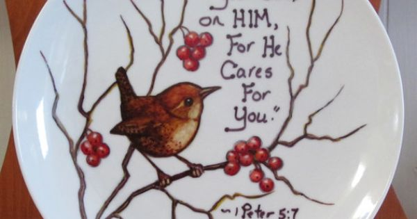 Plate Hand Painted With Sharpie Markers Bird And Bible