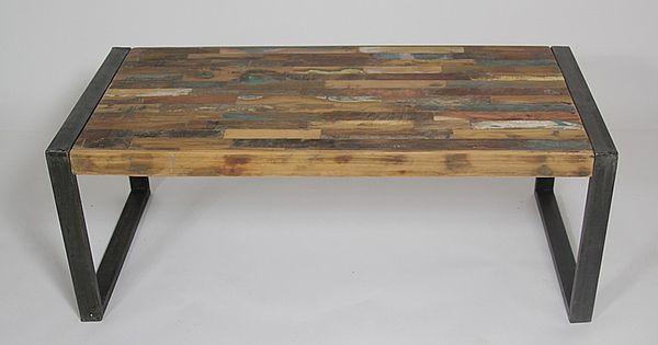 table basse industrielle bois color et m tal petit mod le structures en m tal vieux bois et. Black Bedroom Furniture Sets. Home Design Ideas