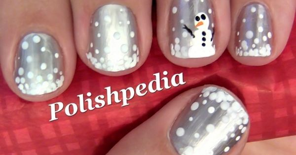 Snowman nails. Silver and white winter nail art.