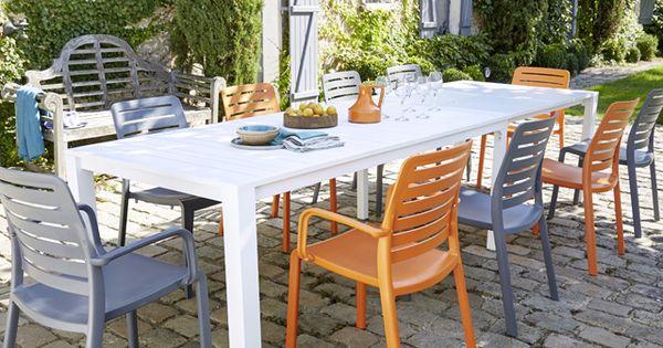 Table De Jardin En M Tal Batang 205 335 X 101 Cm Blanc Castorama Terrasses Balcons Pinterest