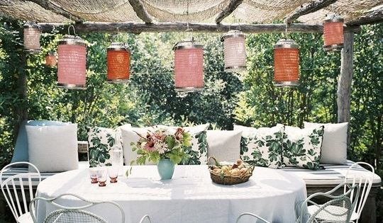 outdoor living a must - Backyard dining area with lanterns