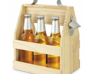 Boston Warehouse Six Bottle Wood Beer Carrier Sentiment Caddy