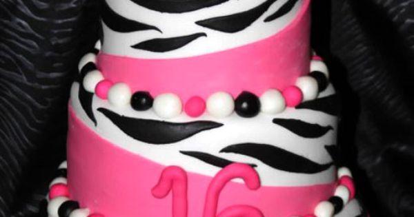 Super cute pink zebra birthday cake!