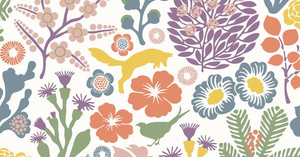 Papel pintado flores y zorros colores blanco telas - Papel pintado animales ...