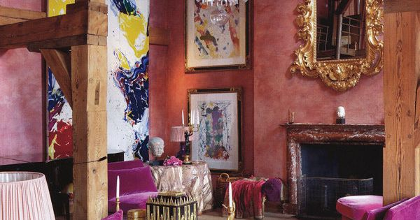 architectural wood beams and awesome purple velvet