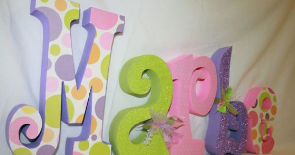 baby name letters wood letters polka dot decor girl nursery letters hand painted kids room custom wood letters for children teen gift via etsy pinterest