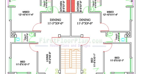 Two Units Village House Plan 50 X 40 4 Bedrooms First Floor Plan 2bhk House Plan Hotel Floor Plan 30x40 House Plans