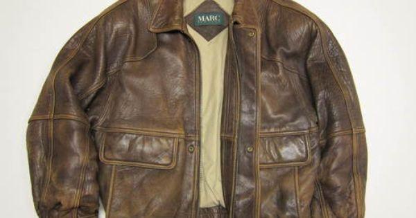 Vintage Kenneth Gordon Distressed Brown Leather Bomber Jacket 42