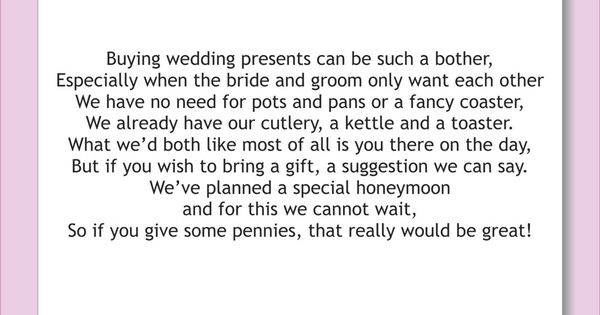 Wedding Gift Wording Ideas: How To Request Donations For Couples Honeymoon