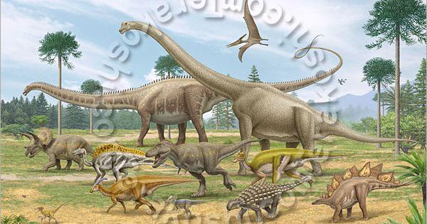 Dinosaur Panorama Brachiosaurus Diplodocus Include Seismosaurus Tyrannosaurus Maiasaura Triceratops Ouranosaurus Anky Dinosaur Brachiosaurus Diplodocus