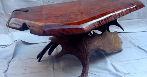 Moose Antler Coffee Table W Antique Zebra Wood By Uniquealwaysllc Antler Tables