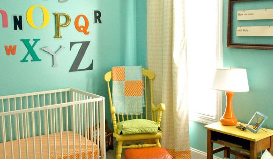 Nursery color scheme. Love the bright colors.