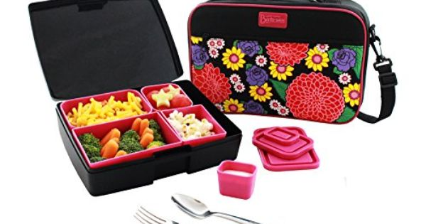 lunch box combo includes bento box carrier with handle ice pack and utensils perfect for. Black Bedroom Furniture Sets. Home Design Ideas