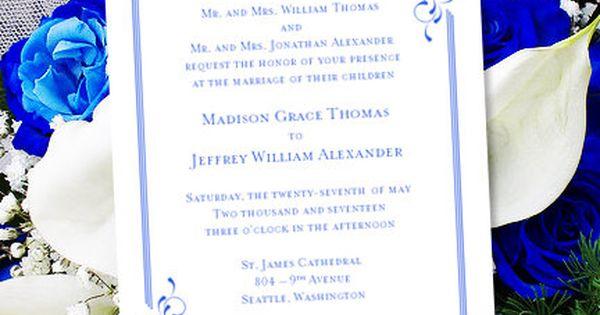 "When Do You Order Wedding Invitations: Printable Wedding Invitation Template ""Elegance"" Royal"