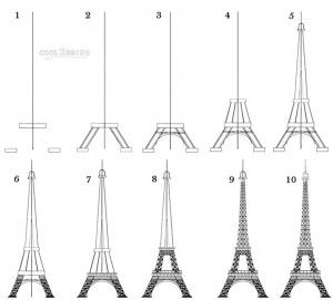 How To Draw The Eiffel Tower Step By Step Pictures Cool2bkids Eiffel Tower Drawing Drawings Art Lessons