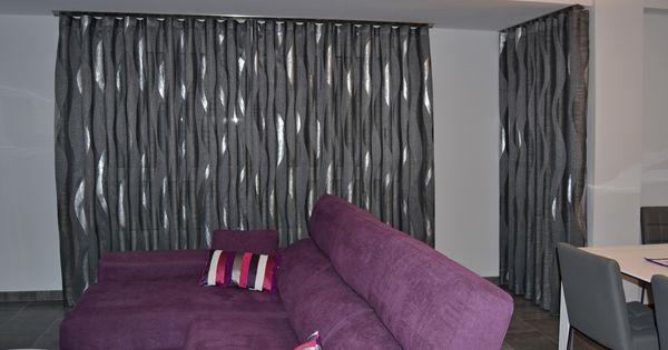 Cortinas en gris y plata para un sal n moderno villalba for Cortinas gris plata