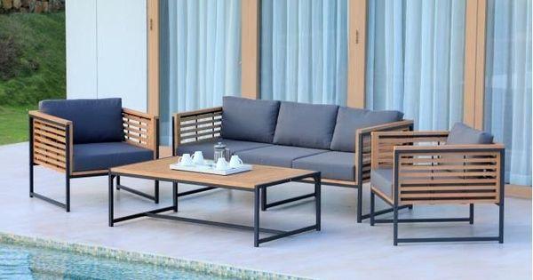 CAYO Salon de jardin 5 places en eucalyptus FSC et aluminium ...