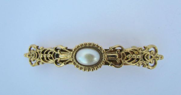 Vintage  Style Made in France Hair Barrette White Pearls Hair Clip
