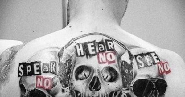 Speak no, hear no, see no skull tattoo