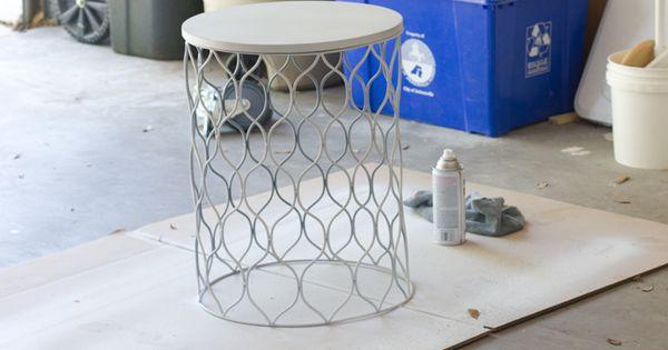 Waste bin spray paint upside down side table for Upside down paint sprayer