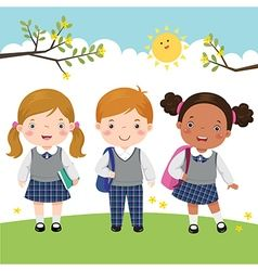 Three kids in school uniform going to school vector | Kids vector ...