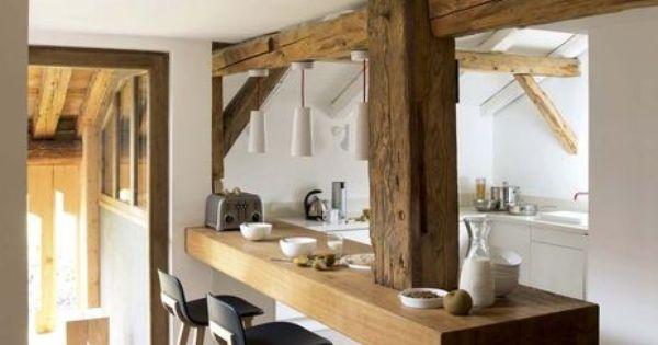 Charpente apparente dans la cuisine plus de photos de for De cuisines conviviales
