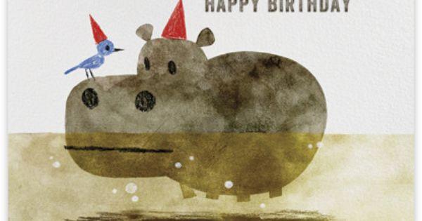 Birthday Cards Bird And Hippo Chris Sasaki Paperless Post Red Cap Cards Animal Illustration Illustration