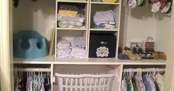 Closet idea. Thinking about a shelf/counter.Like the baskets maybe for out of