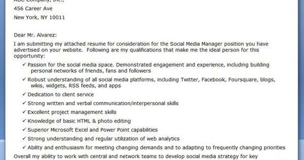 social media manager cover letter sample creative resume