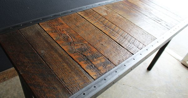Custom 22 Quot X44 Quot Industrial Dining Table With Raw Steel Trim