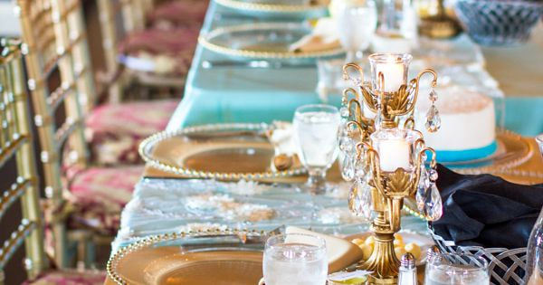 Semple Mansion Wedding Reception Head Table With Turquoise