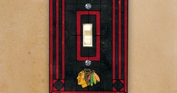Nhl art glass switch cover team chicago blackhawks by the for Chicago blackhawk bedroom ideas
