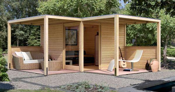 karibu gartenhaus cubus eck 2 28 mm naturbelassen terrass stuga och uterum. Black Bedroom Furniture Sets. Home Design Ideas