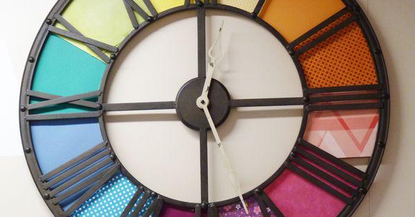 Id e customiser une grande horloge avec de beaux papiers for Horloge zodio