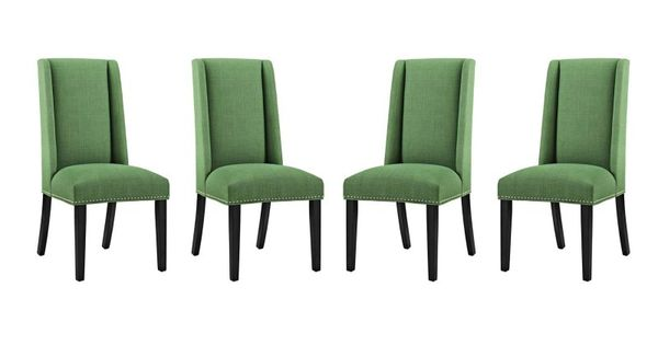 Baron Dining Chair Fabric Set Of 4 Green Modern Dining Side Chairs Side Chairs Dining Luxury Chairs