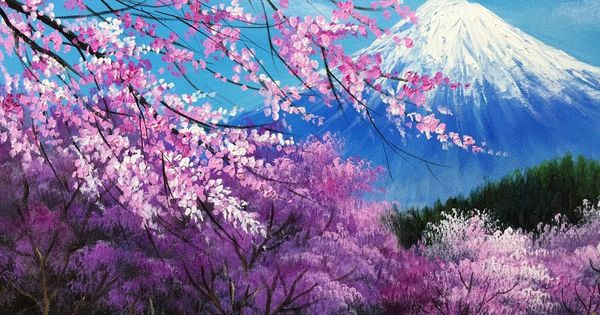 The Cherry Blossoms In The Mt Fuji Acrylic Painting Full Cherry Blossom Painting Acrylic Cherry Blossom Painting Landscape Paintings Acrylic