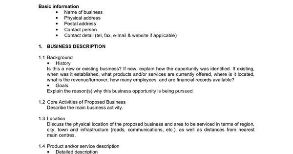 Printable Sample Business Proposal Form
