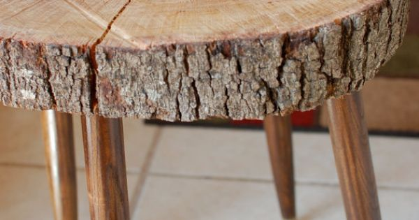 Wood stump side table large tree slice mid by for Large tree trunk slices
