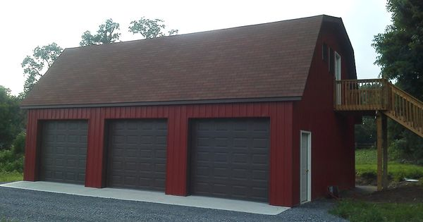 Pole buildings projects gambrel attic pole barn for Prefab gambrel roof trusses