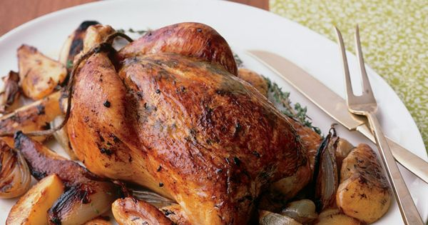 Whole Roasted Chicken with Pear, Shallots, and Thyme | Paleo Meat and ...