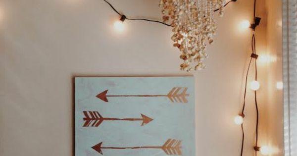 pfeile diy moderne leinwandbilder lichterkette vintage ideen rund ums haus pinterest. Black Bedroom Furniture Sets. Home Design Ideas