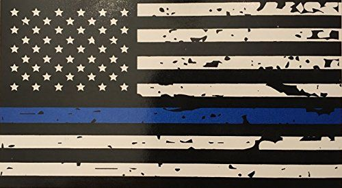 Blueline Flags Tattered Thin Blue Line Vinyl Reflective Decal Black White Blue American Flag St American Flag Decal American Flag Sticker Reflective Decals