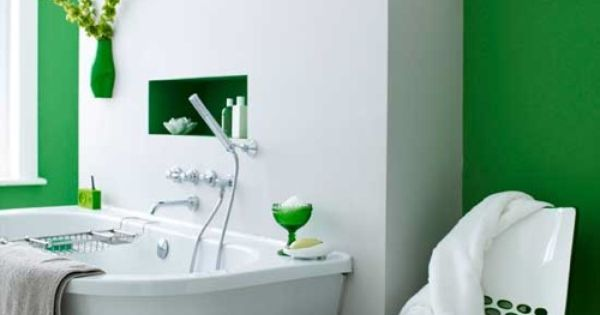 Green Bathroom Decorating @Luann Lang Green White Bathroom Decor Modern Contemporary Home